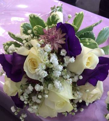 Purple and cream flowers