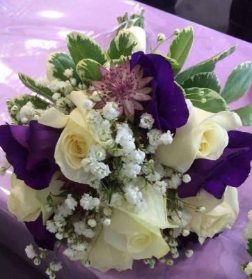 Purple and cream flowers
